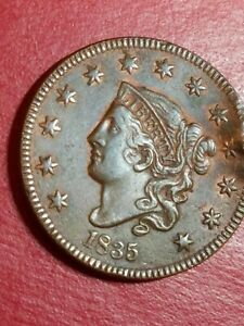 1835 LARGE CENT CORONET HEAD WITH MINT ERROR OR DAMAGE??  MINT LUSTER.