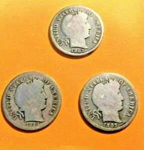 LOT OF 3 BARBER DIMES 1907 D 1907 S 1910 D TAKE A LOOK
