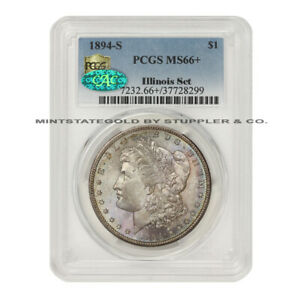 Click now to see the BUY IT NOW Price! 1894 S $1 MORGAN PCGS MS66  CAC CERTIFIED SILVER DOLLAR GEM COIN ILLINOIS SET