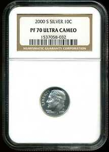 2000 S 10C PROOF SILVER ROOSEVELT DIME PF70 UCAM NGC 1537058 032