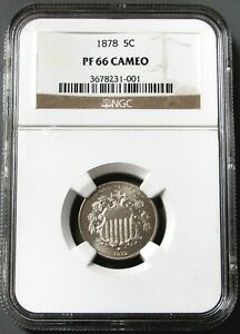 1878 SHIELD 5 CENT NICKEL NGC PROOF 66 CAMEO
