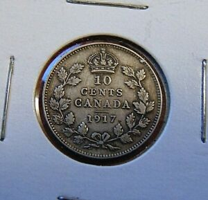 CANADA 1917 TEN 10 CENTS SILVER DIME COIN