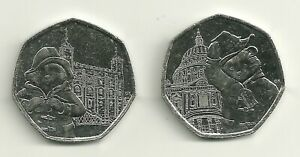 2X PADDINGTON BEAR 50P COINS   TOWER OF LONDON & ST PAUL'S CATHEDRAL   COIN HUNT