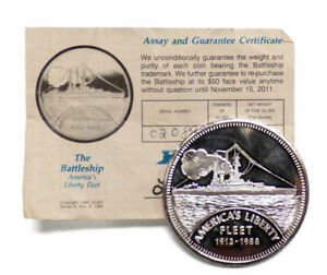 1988 AMERICA'S LIBERTY FLEET $50 BATTLESHIP 5 OZ .999 FINE SILVER ROUND WITH COA