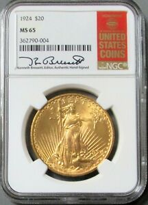 Click now to see the BUY IT NOW Price! 1924 GOLD RED BOOK LABEL KEN BRESSETT $20 DOLLAR SAINT GAUDENS NGC MINT STATE 65