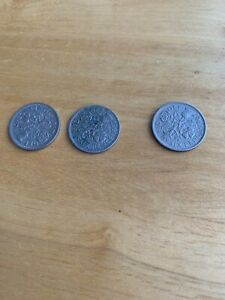 3 X SIXPENCE COINS