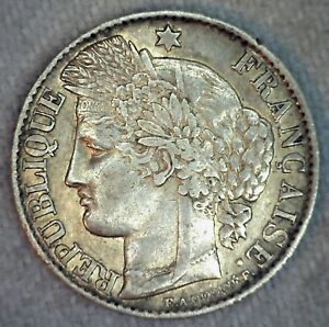 1872 A FRANCE 50 CENTIMES SILVER COIN XF EXTRA FINE