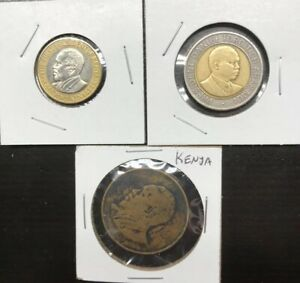 BOTH DATING 2010 2 DIFFERENT BI-METAL COINS from KENYA 5 /& 10 SHILLINGS