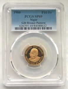 Click now to see the BUY IT NOW Price! NIGER 1960 DIORI HAMANI 10 FR PCGS SP69 GOLD PLATED PATTERN COIN VERY