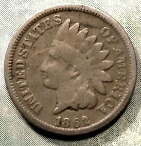 1862 INDIAN HEAD PENNY G GOOD CIVIL WAR COIN  LOW 28 ML  COPPER NICKEL STORE