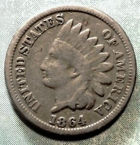 1864 COPPER NICKEL INDIAN HEAD PENNY G GOOD CIVIL WAR COIN  SOME LIBERTY