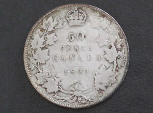 1931 CANADA FIFTY CENTS 80  SILVER COIN D8616