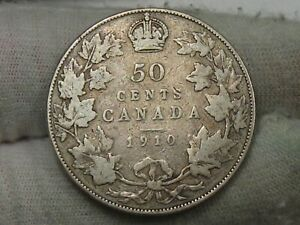 1910 SILVER CANADIAN 50 CENT FIFTY CENT CANADA.  86
