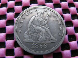 1856 P SEATED QUARTER WITH INTERNAL CUD ERROR