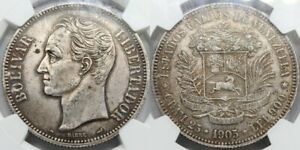 Click now to see the BUY IT NOW Price! NGC  AU VENEZUELA 1905 LIBERTADOR 5 BOLIVARES SILVER COIN  QUALITY