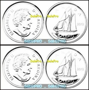4X CANADA 2012 CANADIAN DIME BLUE NOSE SHIP QUEEN 10 CENT SEALED COIN LOT UNC