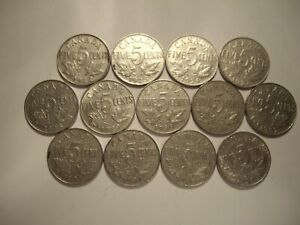 E CANADA GEORGE V 1922   1936 FIVE CENTS   LOT OF 13 COINS