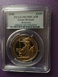 Click now to see the BUY IT NOW Price! 1988 BRITANNIA GOLD PROOF 100 1 OZ COIN GRADE PCGS PR70 DCAM POPULATION OF 2