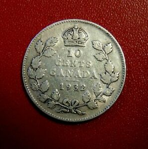 CANADA CANADIAN 1932 TEN 10 CENTS SILVER DIME COIN