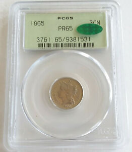 Click now to see the BUY IT NOW Price! 1865 PROOF US 3 CENT NICKEL COIN PCGS PR65 CAC OGH LOVELY KEY DATE 500 MINTED