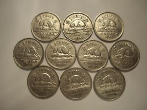 CANADA GEORGE VI 1940 FIVE CENTS   LOT OF 10 COINS