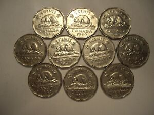 CANADA GEORGE VI 1949 FIVE CENTS   LOT OF 10 COINS