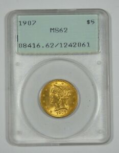 1907 GOLD LIBERTY HEAD MOTTO ABOVE EAGLE $5 COIN PCGS
