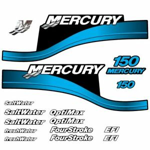 Mercury 150 Four 4 Stroke Decal Kit Outboard Engine Graphic Motor Merc TEAL