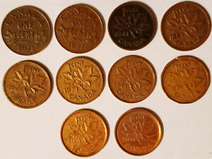 CANADIAN SMALL CENTS    10 COINS CENTS    FROM 1921  2011 READ DETAILS