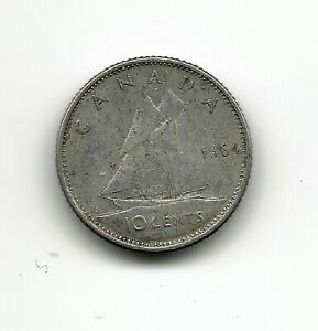 WORLD COINS   CANADA 10 CENTS 1964 SILVER COIN KM 51