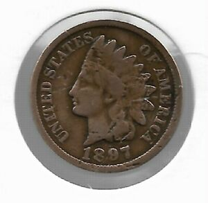 ANTIQUE US 1897 INDIAN HEAD PENNY COLLECTIBLE COLLECTION COIN CENT LOT:C51
