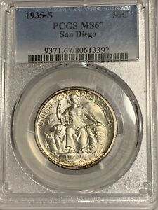 Click now to see the BUY IT NOW Price! 1935 S MS67 SAN DIEGO COMMEMORATIVE HALF DOLLAR 50C PCGS GRADED