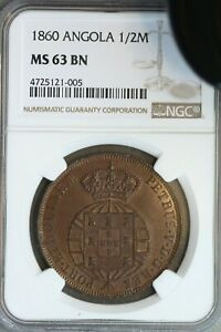 Click now to see the BUY IT NOW Price! ANGOLA 1860 1/2 MACUTA NGC MS63BN  IN HIGH GRADE
