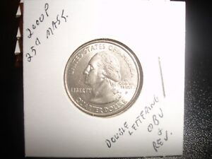 2000 P MASSACHUSETTS STATE QUARTER 25 CENT ERROR DOUBLED OBVERSE REVERSE