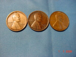 LINCOLN CENTS 1919D VG 1927D VF 1933 VG
