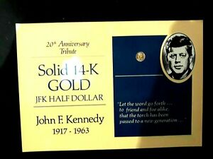 2 1 1: 14K SOLID GOLD US$0.5 COIN OF JFK KENNEDY 20TH ANNIV.   US OLD ONE CENT