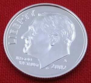 2002 S GEM PROOF DEEP CAMEO ROOSEVELT DIME FROM PROOF SET   90  SILVER  10655