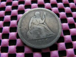1856 SEATED QUARTER STRUCK THRU MAJOR ERROR