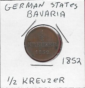 GERMAN STATES BAVARIA 1/2 KREUZER 1852 RULER:MAXIMILLIAN II CROWNED ARMS WITHIN