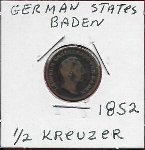 GERMAN STATES BADEN 1/2 KREUZER 1852 RULER:LEOPOLD I HEAD RIGHT LEGEND:LEOPOLD G