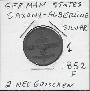 GERMAN STATES SAXONY ALBERTINE 2 NEU GROSCHEN 1852 F SILVER RULER:FRIEDRICH AUG