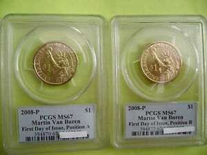 Click now to see the BUY IT NOW Price! 2008 P MARTIN VAN BUREN PCGS MS67 FDI POSITION A & B BUSINESS 2 COIN DOLLAR SET