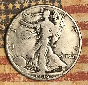 1936 D WALKING LIBERTY SILVER HALF DOLLAR COLLECTOR COIN FOR YOUR SET.