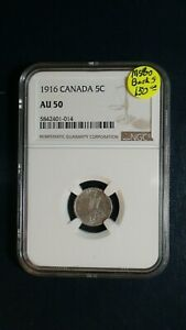 1916 CANADA FIVE CENTS NGC AU50 5C COIN PRICED TO SELL NOW