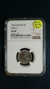 1922 CANADA FIVE CENTS NGC AU58 NEAR S 5C COIN PRICED TO SELL NOW