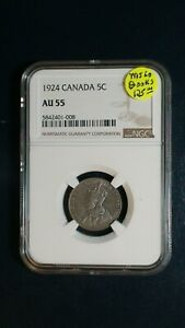 1924 CANADA FIVE CENTS NGC AU55 5C COIN PRICED TO SELL NOW
