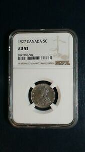 1927 CANADA FIVE CENTS NGC AU53 5C COIN PRICED TO SELL NOW