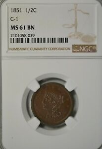 1851 BRAIDED HALF CENT NGC MS61