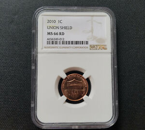 2010 P LINCOLN UNION SHIELD CENT NGC MS 66 RD   PENNY GRADED MS66RD RED 1C