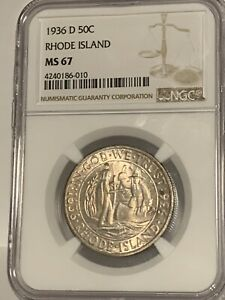 Click now to see the BUY IT NOW Price! 1936 D RHODE ISLAND 50C SILVER HALF DOLLAR   NGC MS67   COMMEMORATIVE